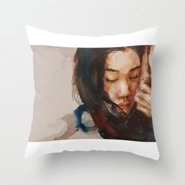 Watercolor, Portrait Throw Pillow