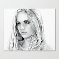 cara delevingne Canvas Prints featuring Cara Delevingne by sesven