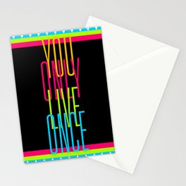 Cascading Neon YOLO Stationery Cards