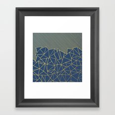 Ab Lines 45 Navy and Gold Framed Art Print
