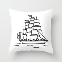 ships Throw Pillows featuring Ships Ahoy! by CaptainChrisP