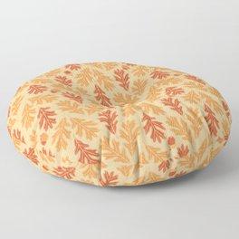 Autumn oak leaves and acorns pattern (Warm autumn colors) Floor Pillow