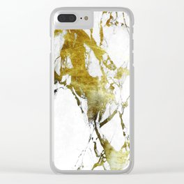 Gold-White Marble Impress Clear iPhone Case