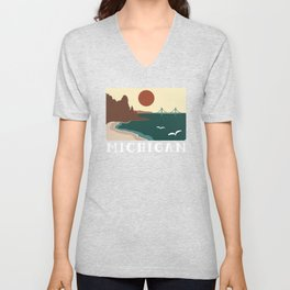 Minimalist Michigan Vintage Sunset Unisex V-Neck