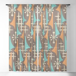 Mid Century Modern Atomic Wing Composition 235 Brown Orange and Turquoise Sheer Curtain