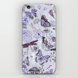 Dragonflies, Butterflies and Moths With Plants on Pale Blue iPhone Skin