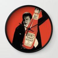 vegetarian Wall Clocks featuring Vegetarian Vampire by Karolis Butenas