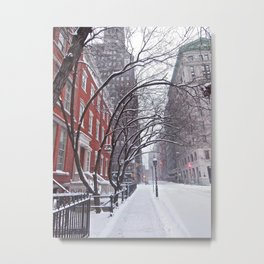 Snow Streets, Washington Square North Metal Print