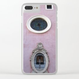 Pink Spanish Facade Clear iPhone Case