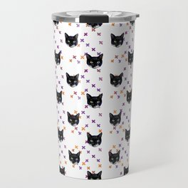 Cute Tuxedo Cat Faces with Pink Cross Bandaids Travel Mug
