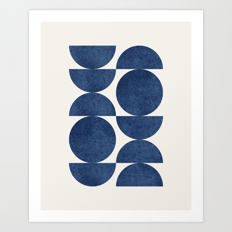 Blue navy retro scandinavian Mid century modern Art Print