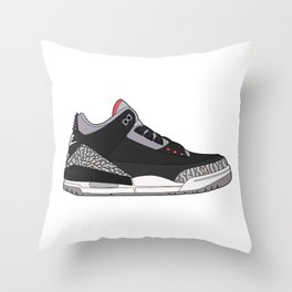 Jordan 3 - Black Cement Throw Pillow