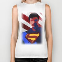 superman Biker Tanks featuring Superman by Scar Design