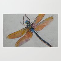 dragonfly Area & Throw Rugs featuring Dragonfly by Michael Creese