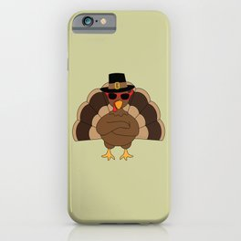 Cool Turkey with sunglasses Happy Thanksgiving iPhone Case