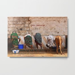 Indian Women and Cow Metal Print