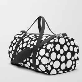 White polka dots on a black background. Duffle Bag