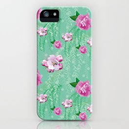 Blossom Willow Flower Pattern Turquoise & Pink iPhone Case