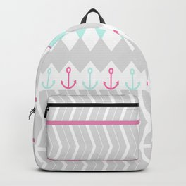 Stylish pink teal gray chevron anchor pattern Backpack