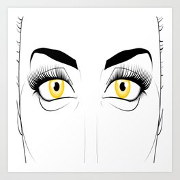 Woman with Golden Eyes Art Print