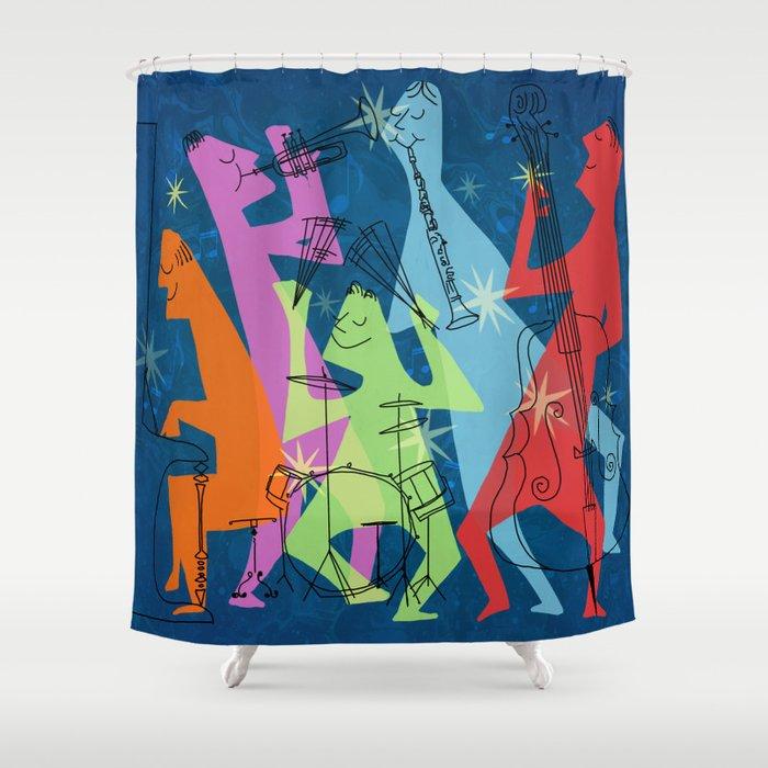 Mid-Century Modern Jazz Shower Curtain by sunnybunny | Society6