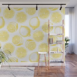 Hand drawn lemon pattern Wall Mural