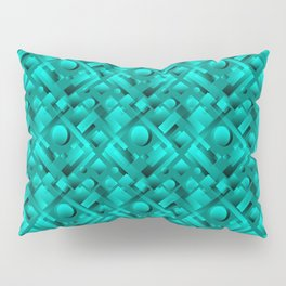 Volumetric design with interlaced circles and light blue rectangles of stripes. Pillow Sham