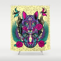 frida Shower Curtains featuring Frida by Fly Design Studio