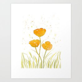 Watercolor California Poppies Art Print