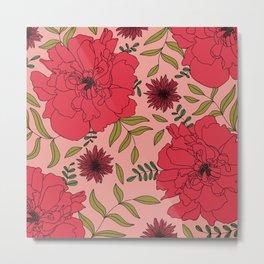 Coral Pink Peony   Hand-drawn Modern Floral  Metal Print
