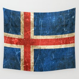 Vintage Aged and Scratched Icelandic Flag Wall Tapestry