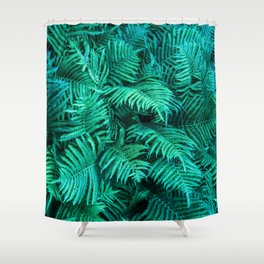 Fern Photography | Emerald | Turquoise |Tropical Leaves | Art Print Shower Curtain