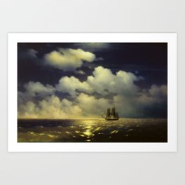 Ivan Aivazovsky -The brig Mercury encounter after defeating two Turkish ships of the Russian squadro Art Print