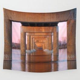 Twilight Bridge Pillars Wall Tapestry