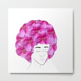 Flower Haired Girl Metal Print