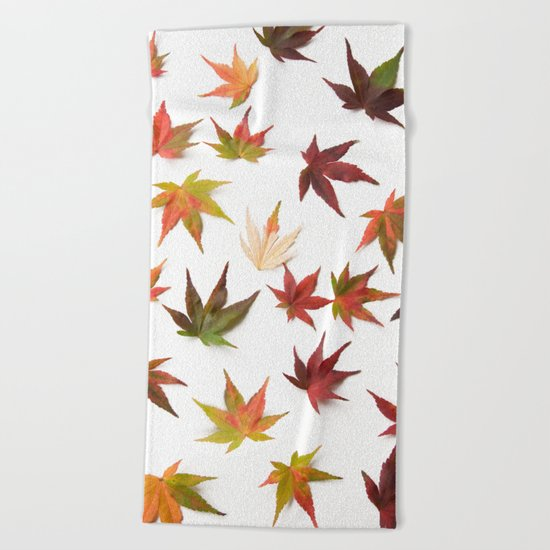 AUTUMN LEAVES PATTERN #1 #decor #art #society6 Beach Towel