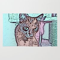 comic Area & Throw Rugs featuring Comic CAT by MehrFarbeimLeben