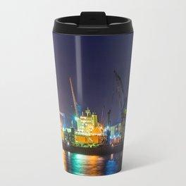 Port of Hamburg at night with colorful illumination Travel Mug