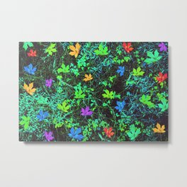 maple leaf in pink blue green orange with green creepers plants Metal Print