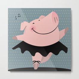 Ballerina pig Metal Print