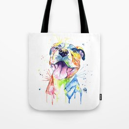 Pit Bull, Pitbull Watercolor Painting - The Softer Side Tote Bag