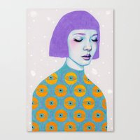 purple Canvas Prints featuring The Observer by Natalie Foss