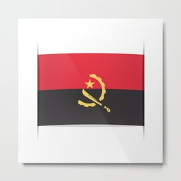 Flag of Angola, officially the Republic of Angola.  Metal Print