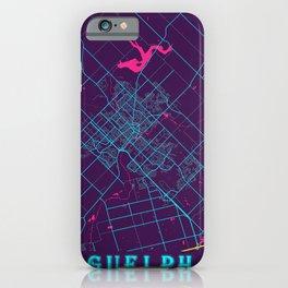 Guelph Neon City Map, Guelph Minimalist City Map Art Print iPhone Case