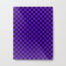 Black and Indigo Violet Checkerboard Metal Print