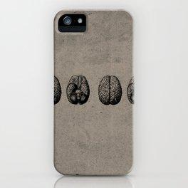 Row o' Brains - Engraving - Vintage - Old Black, White & Brown iPhone Case