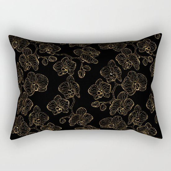 Flowers orchids ornament gold seamless pattern, stylish texture. Gold trendy glitter floral print on Rectangular Pillow