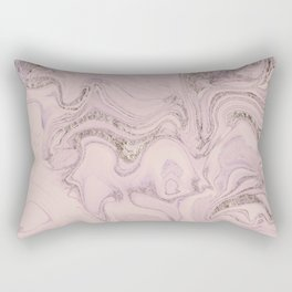 Pastel Pink Gold Faux Glitter Marble Rectangular Pillow
