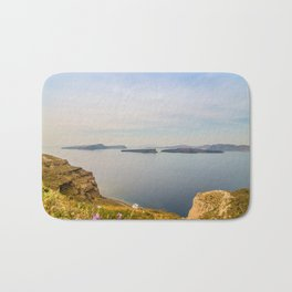 Beautiful landscape with sea view of the Nea Kameni, a small Greek island in the Aegean Sea near San Bath Mat
