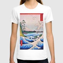 12,000pixel-500dpi - Utagawa Hiroshige - 36 Views of Mt.Fuji - The sea Satsuta at in Suruga T-shirt